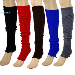 Wholesale Winter Warm Leggings Stockings - Wholesale-Womens Knit Stripe Stocking Winter Warmer Knee Leggings Crochet Leg Free Shipping 50