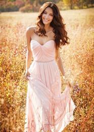 Wholesale Long Barato - 2016 vestido de dama de honor larga de color rosa vestidos de época amor barato País dama de honor pink Bridesmaid Dresses