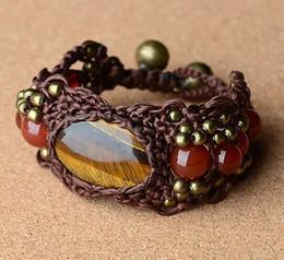 Deutschland Mode Böhmen China Chic Messing / Kupfer Perlen Glocken Wachs Schnur Achat Nationalen Stil Woven Charm Armbänder Ethnische Tibetanische Schmuck Versorgung