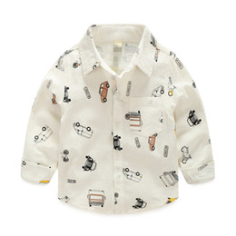 Wholesale Western Tops - Christmas New Kids Boys Cars Print Cotton Fall Shirts Long Sleeve Western Cute Boys Fashion Tops