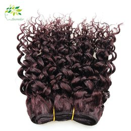 Wholesale Red Brazilian Curly Weave - 7a Uprocessed Burgundy Weave Brazilian Kinky Curly Virgin Hair 8 Inch Wine Red 99j Hair Weft Curly Weave Human Hair Products