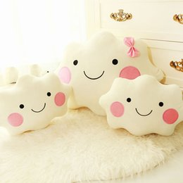 Wholesale Face Pillows - Smiley Face Kawaii Soft Plush Smiley Face Bow Cloud Pillow 100% Cotton Stuffed Back Cushion Seat Cushion Christmas Plush Toys