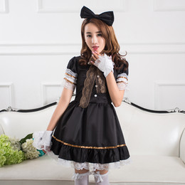 Wholesale Unique Sexy Costumes - The Unique New Design Cosplay Maid Outfit Fashion Lolita Princess Dress Sexy Anime Daily Black Dress Suits
