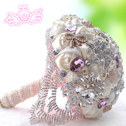 Wholesale Leaf Shaped Beads - Sexy Real Bridal Wedding Bouquet 2016 Crystal Beads Sexy Real Image Bridal Bouquet New Arrive Fashion wedding flower