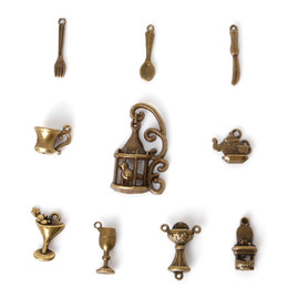 Wholesale Mixed Charms Metal Bronze - Free shipping New Style 98 pcs Vintage Charms Mixed Tool Pendant Antique bronze Fit Bracelets Necklace DIY Metal Jewelry Making jewelry mak