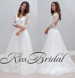 Wholesale Sexy Black Shirt Holes - Vintage Lace 2018 Wedding Dresses Long Sleeves V Neck Key Hole Backless Tulle Bridal Gowns Cheap Reception Dress