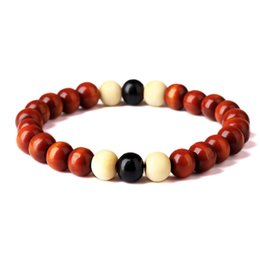 Wholesale Mens Bead Bracelets Wood - Simple Mens Woman 8mm Wood Beads Design Strand Bracelets Fashion Hip Hop Jewelry Wooden Beaded Bracelet For Gifts Charms