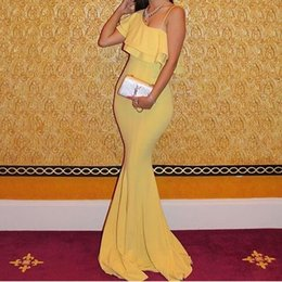 Wholesale Champagne Chiffon Fabric - 2016 Concise Sexy Yellow Mermaid Evening Dresses with Ruffles Sleeveless Asymmetrical Spaghetti with Sweep Train and Comfortable Fabric