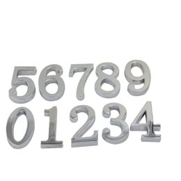 Wholesale Number Plate Stickers - Silver Digits #0-9 House Hotel Door Number Address Plate Sign Size 50x30mm Self Adhesive Sticker Alloy Room Gate Number