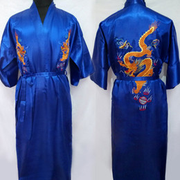 Wholesale Satin Chinese Style Dress - 2017 Men's Satin Chinese Style Bridegroom Robes Bathrobe Embroidery Dragon Nightgown Sleepwear Dressing Gown For Male