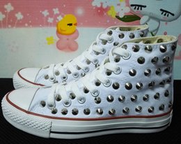 Wholesale Eur 43 - canvas shoes clean and dirty model unisex shoes for lovers of all size 35-43 eur Ship with box! drop ship new 2016 high model sharp studs
