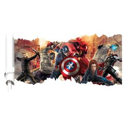Wholesale Sticker Boy Girls - The Avengers Wall Stickers for Kids Boys Girls Rooms Decorative Wall Decals Carton Home Decoration Removable Wallpaper Product Code:90-3016