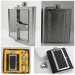 Wholesale color 69 - New Pocket Case Hip Flask Stainless Steel Bar Drinkware With Funnel Home and Outdoor Sport Wine Bottle Cup Sets 5oz and 6oz HH7-69