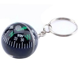 Wholesale crystal compass - Wholesale-FuLang Crystal Ball Compass Keychain 28mm Liquid Filled Compass For Hiking Camping Travel GPS Outdoor Survival FZ88