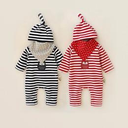 Wholesale Owl Baby Bib - 2016 Autumn New Baby Romper Cartoon Owl Stripe Long Sleeve Toddler Jumpsuit +Hats +Bibs Three Piece Sets 0-12M 8033