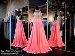 Wholesale Sheer Coral Dress - 2016 New Evening Dresses Prom Formal Gown With A Line Sheer Neck Beads Crystals Coral Chiffon Sexy Backless Long Cheap