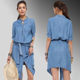 Wholesale Dress Girl Denim - Summer fashion blue denim casual dress half sleeve O - Neck asymmetry with S - 2 xl shirt skirt woman girl dress