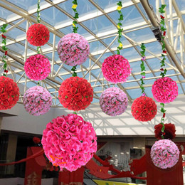 "Palle di rosa per centerpieces online-16""(40cm) High Quality Wedding Decoration Centerpieces Kissing Ball Artificial Silk Rose Flower Ball Hanging Ornament 20 colors"