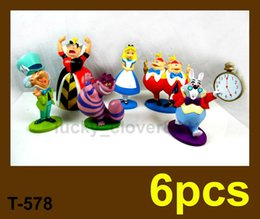 Wholesale Set Alice Wonderland - 6 PCS set Cartoon Movie Alice in Wonderland Action Figures mini figurines doll miniature model Kids Gift Toy Cake Topper Decoration