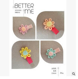 Wholesale Hair Accessory Sunflower Clip - baby children hairpin headdress accessories baby cloth all bb sunflower cute hairpin pure handmake hair clips