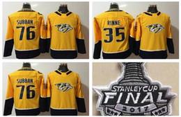 Wholesale Kids Size Hockey Jerseys - 2018 Youth Nashville Predators Kids Jerseys 76 PK Subban 35 Pekka Rinne Hockey Jerseys Yellow Stitched 2017 stanley cup Boys Size S M L XL