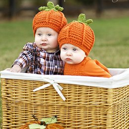 Wholesale Newborn Easter Gifts - Hallowmas Gift Baby Hats Cotton Kintted Pumpkin Newborn Caps Boy Girl Baby Hats Autumn Winter Caps Baby Accessories SAILEROAD