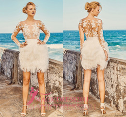 Wholesale Sexy Mini Skirt Wedding Dresses - Elbeth Gillis 2017 Short Mini Wedding Dresses Illusion Bodice Long Sleeve Lace Vintage Garden Beach Boho Fur Bridal Gowns Custom Made