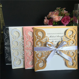 Wholesale Wholesale Thank Cards Wedding - 15*15Cm Creative Wedding Card Designs Lace Wedding Card Invitation Cards Thank You Cards Hollow Design Card Fashion Design Wholesale