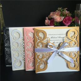 Wholesale Thanks Wedding Card - 15*15Cm Creative Wedding Card Designs Lace Wedding Card Invitation Cards Thank You Cards Hollow Design Card Fashion Design Wholesale