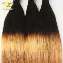 Wholesale Two Tone Remy Human Hair - Indian Brazilian Malaysian Peruvian Virgin Hair Straight Ombre Human Hair Weaving Two Tone 1B 27 Colored Hair Extensions