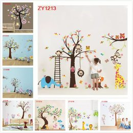 Wholesale Blue Monkey Cartoons - 8 Styles Fashion Cute Monkeys Playing On Trees Wall Stickers For Kids Rooms Decorative Removable PVC Wall Decal DIY XL Large