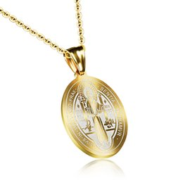 Wholesale Catholic Religious Jewelry Wholesale - Oval Catholic Christian Pendant in Stainless Steel Religious Jewelry 22X33mm