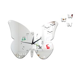 Wholesale Planets Decals - New 2016 Cartoon Butterfly Wall Clock Stickers Mirror Planet Shape Digital Pointer Wall Stickers Home Decor Waterproof Wall Decals