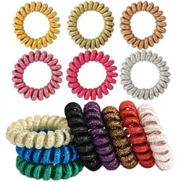 Wholesale Girls Elastic Pony Tail Holders - Metal shinny color Telephone wire Hair Ties Ponytail Holders Girls Stretchy Elastic Hair Ropes Bands Styling Accessories