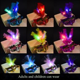 Wholesale Masquerade Masks Led Lights - Halloween Glowing Fluff Fiber Prom LED Lights Masks Feather Mask with Flashing Light Princess Women Girls Masquerade Dance Party Supplies