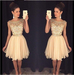 Wholesale Royal Blue Brooches - Crystals Beaded Cap Sleeves Short Homecoming Dresses Scoop Neck Knee Length Custom Made Champagne Prom Dresses 2016-2017 Party Dresses