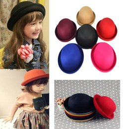 Wholesale Kids Sun Dresses - Hot 2016 Little Girls Fedora Hat Dome Cap Children Dress Hats Kids Felt Cap Wool Felting Bowler Derby Hat Bucket Cloche Sun hat