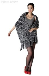 Wholesale Knitted Rabbit Fur Cape - Wholesale-Queenshiny Women's 100% Real Rex Rabbit Fur Knitted Cape Scarf