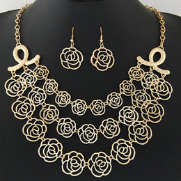 Wholesale Rose Necklace Golden - Choker Statement Necklace Bridal Jewelry Sets Multi layer Rose Pendant Turkish Jewelry Set For Women Necklaces & Earrings Set