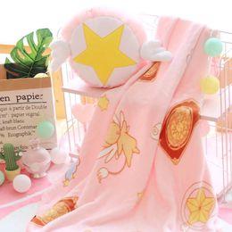 Wholesale Teddy Bear Romantic - 1pc 30cm Cardcaptor Sakura Star staff plush pillow coral fleece rest office cushion + blanket stuffed toy romantic gift for baby