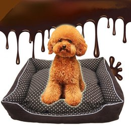 Wholesale Coffee Warming Pad - Coffee Color Pet House With White Dot Warm Dog Cat House Kennel Soft Washable Pet Dog Cat Nest For Winter M Size Min Order 1PCS