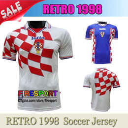 Wholesale Graphic S - Retro 1998 Vintage MODRIC National Futbol Team Graphic Pullover Soccer Jerseys World Cup MODRIC Netherlands France Mexico Football Shirts