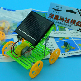 Wholesale Solar Mini Model Car - free shipping whilesale Mini solar car diy homemade handmade children's toys assembled educational model with Creative Technology