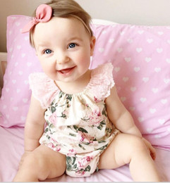 Wholesale Ruffle Onesie - 2016 Summer Baby Clothes boutique Printed Toddler Jumpsuit Lace ruffled baby girl romper Kids onesie girl Clothing Size 70-100