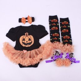 Wholesale Cheap Wholesale Toddler Clothes - Halloween Clothing Sets Baby Rompers Dresses Toddler Shoes Hairband Leggings Knee Socks 4pcs Suits Cheap Free DHL 425