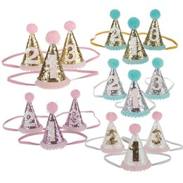 Wholesale Hair Cone - 3D Stereo Hair Band Cute Cone Shape Number Headband With Big Hair Balls Sequins Headwrap For Child 4 9xm B
