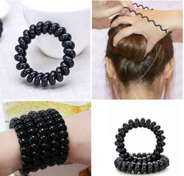 Wholesale Wired Headband For Hair - 4pcs Black Color Telephone Wire Elastic Rubber Hair Gum Head Bands Headband For Women Baby Hair Accessories Children Hair Ties