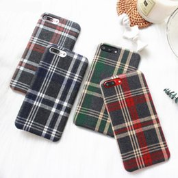 Wholesale British Fabrics - Plaid Retro British College European Style Cloth Art Grid Fabric Stripe Ultra-thin Phone Case Cover For Apple iPhone X 8 7 6Plus