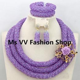 Wholesale Purple Garnet Silver Earrings - african beads jewelry set luxury lilac