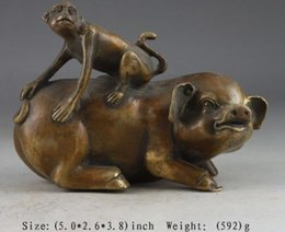 Wholesale Collectibles Antiques - CHINESE BRASS VINTAGE HANDWORK HAMMERED PIG MONKEY STATUE SUPERB COLLECTIBLES